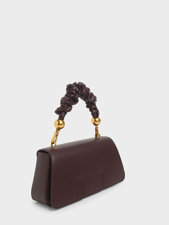 Ruched Handle Sculptural Bag, Dark Brown, hi-res