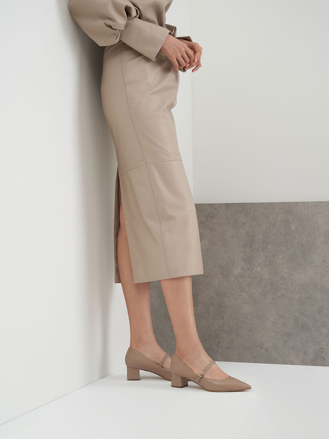 Mary Jane Court Shoes, Taupe, hi-res