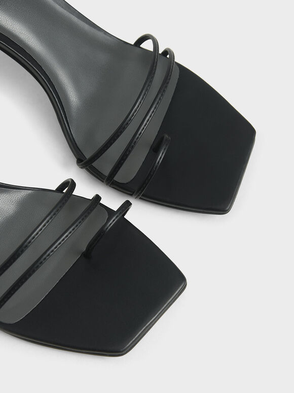 Strappy Tie Up Heels, Black, hi-res