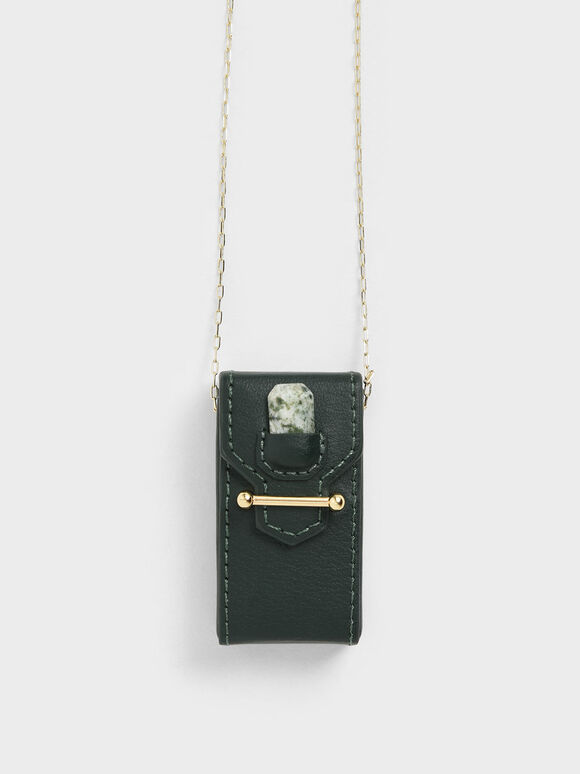 Agate Tree Stone Opera Necklace Bag, Green, hi-res