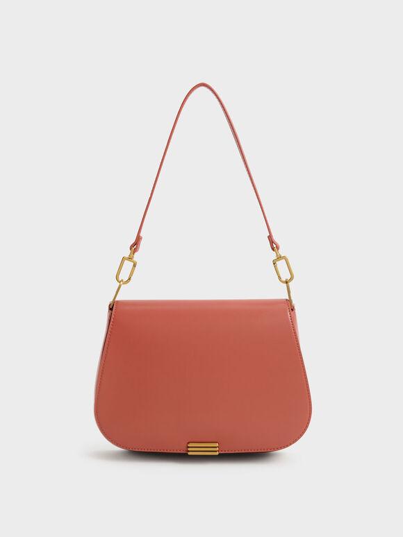 Metallic Accent Shoulder Bag, Brick, hi-res