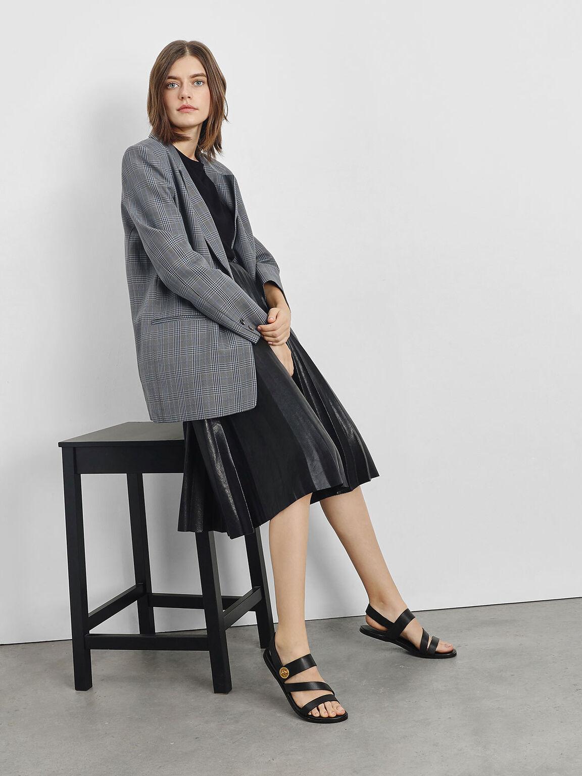 Asymmetrical Strappy Sandals, Black, hi-res