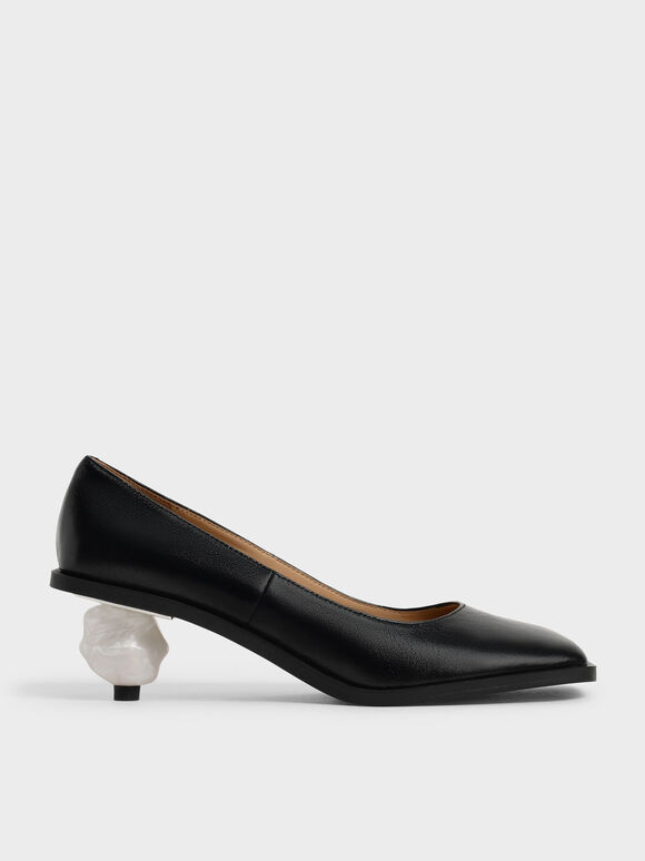 Sculptural Heel Pumps (Kid Leather), Black, hi-res
