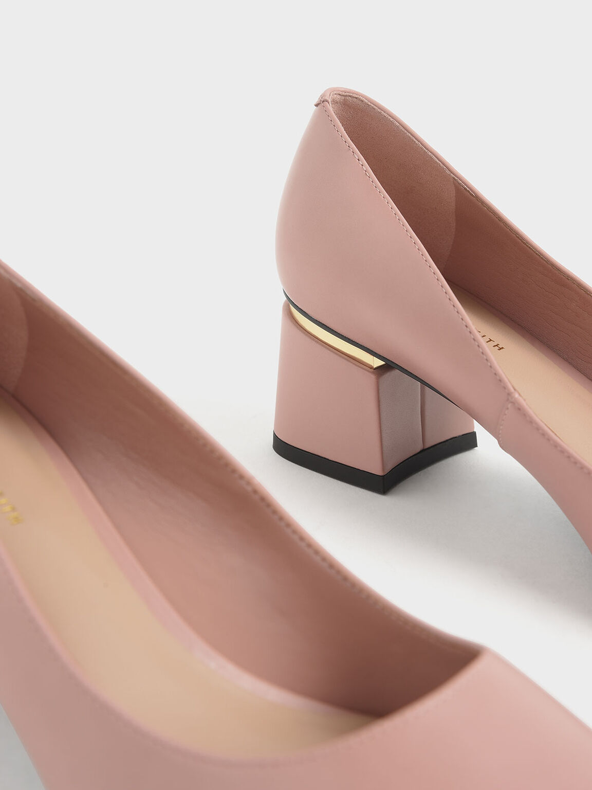 Metal Accent Block Heel Pumps, Nude, hi-res