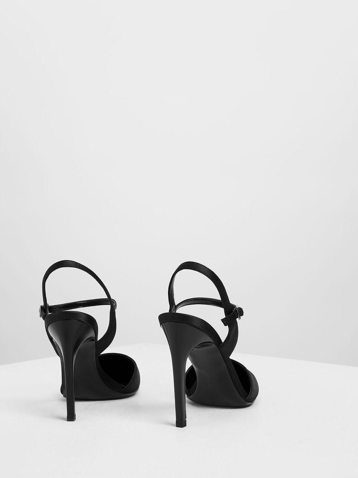 Satin Ankle Strap Covered Heels, Black, hi-res