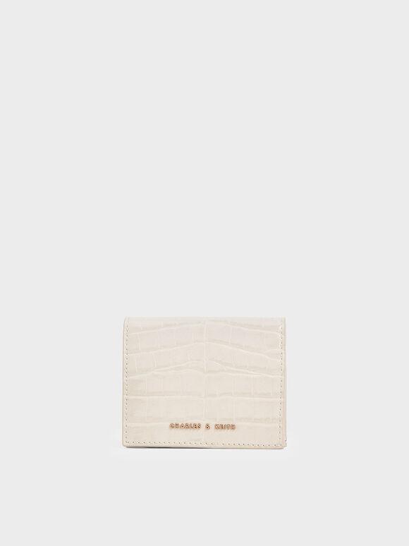Croc-Effect Small Wallet, Cream, hi-res