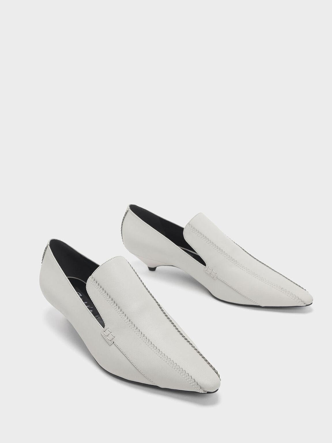 Zigzag Detail Leather Kitten Heel Loafers, Chalk, hi-res