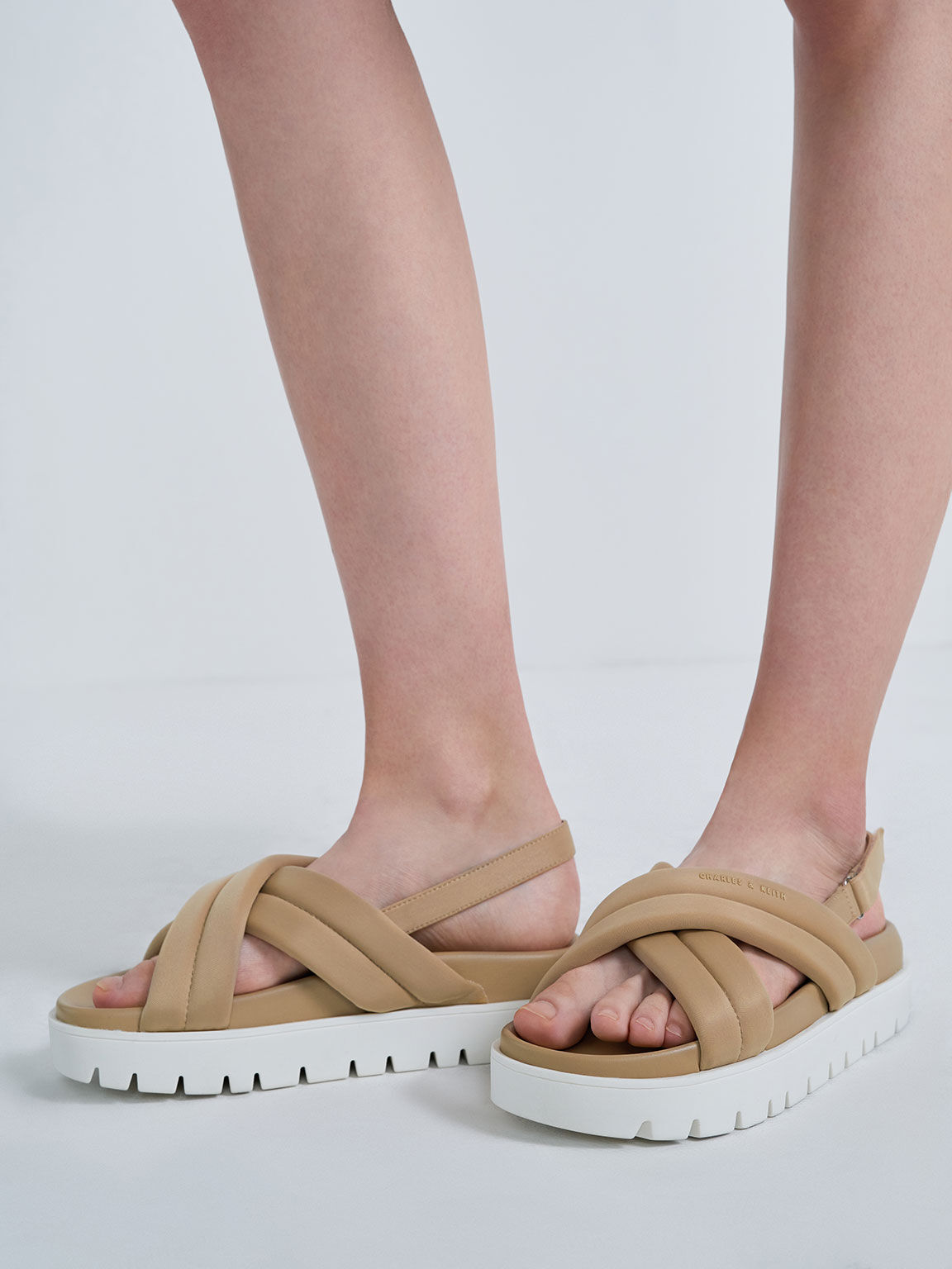 Recycled Polyester Padded Sports Sandals, Sand, hi-res