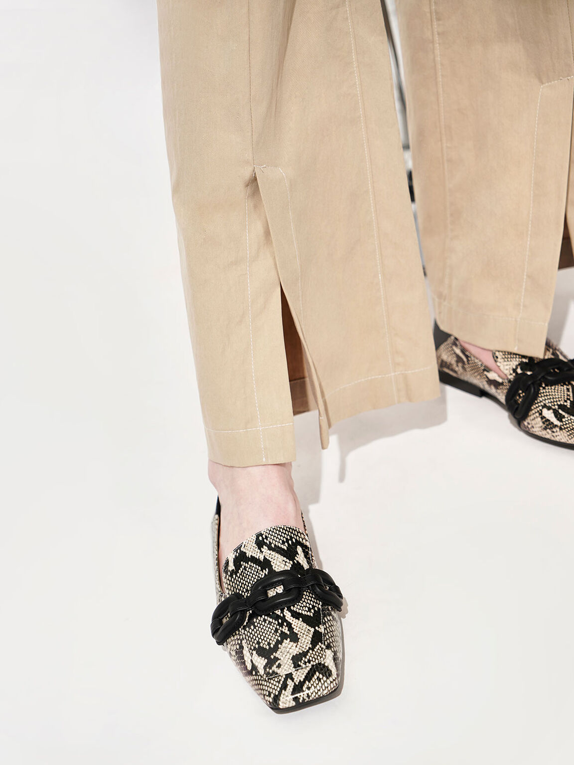 Leather Snake Print Step-Back Loafers, Multi, hi-res