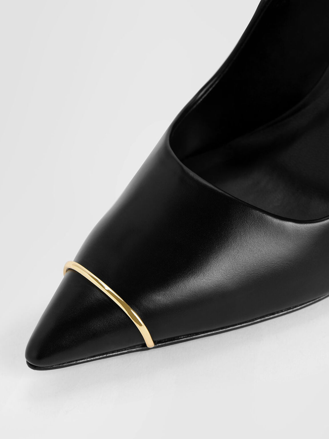 Metallic Accent Pointed Toe Stiletto Pumps, Black, hi-res