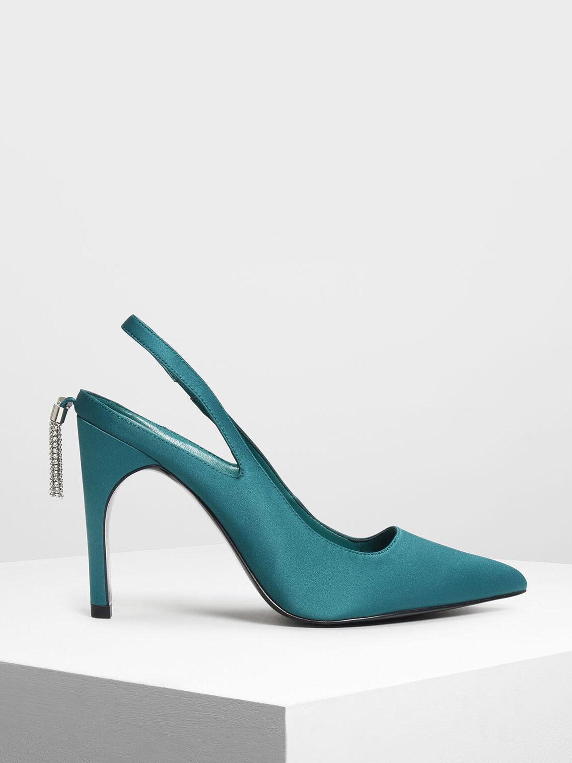 Embellished Tassel Slingback Heels, Green, hi-res