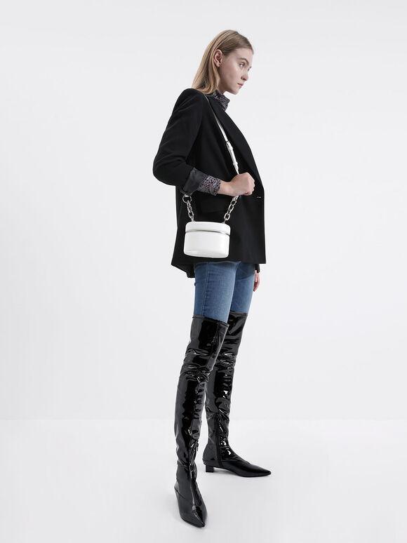Thigh High Patent Boots, Black, hi-res