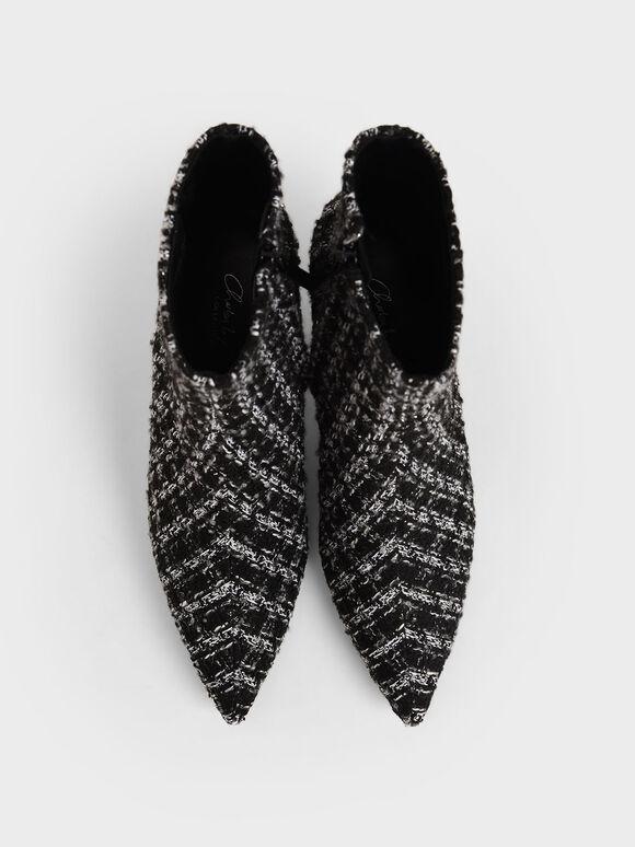 Tweed Sculptural Heel Ankle Boots, Multi, hi-res