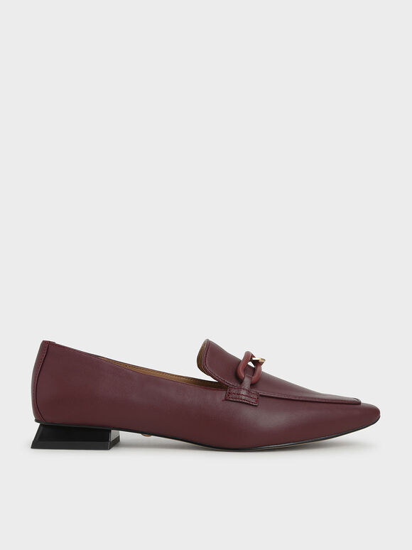 Embellished Leather Loafers, Burgundy, hi-res