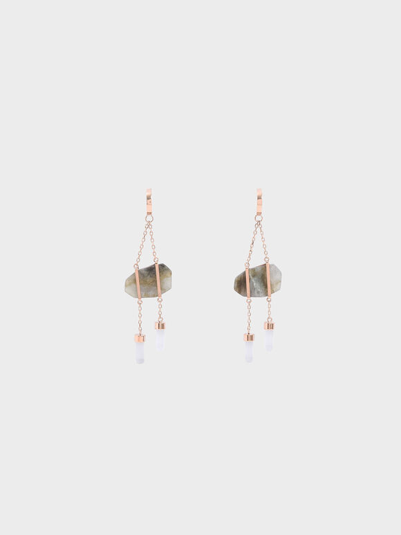 Labradorite Stone Dangle Earrings, Rose Gold, hi-res