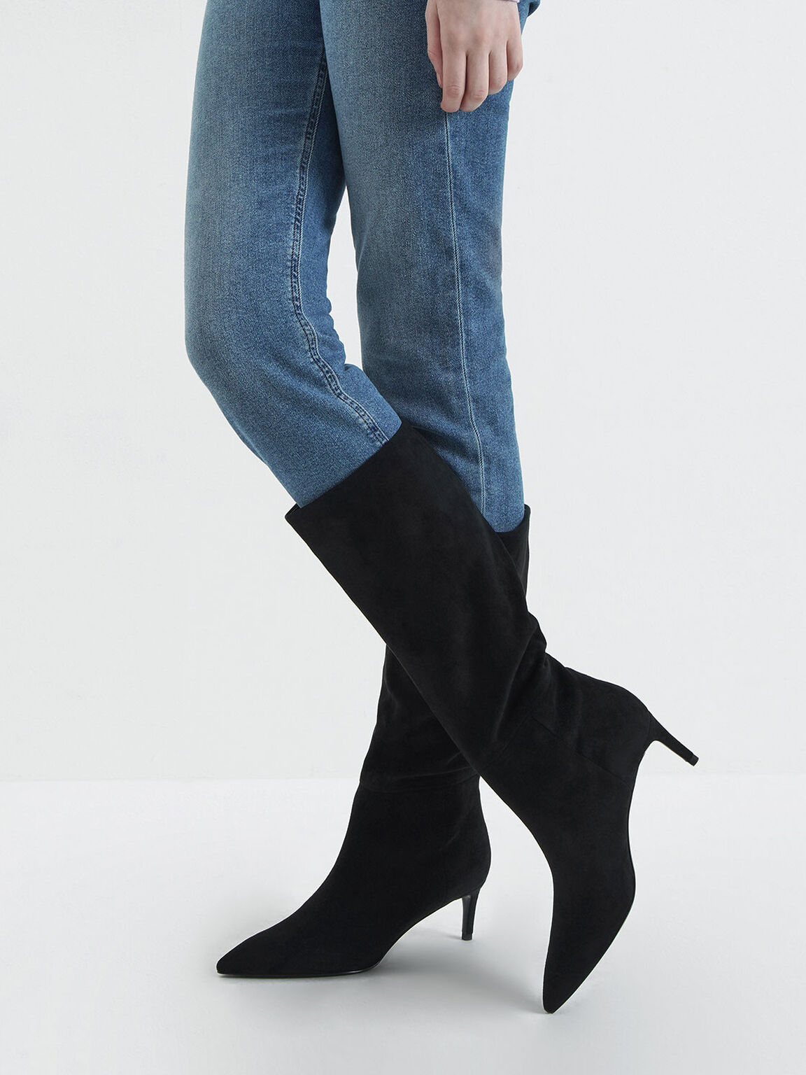 Textured Knee High Boots, Black Textured, hi-res