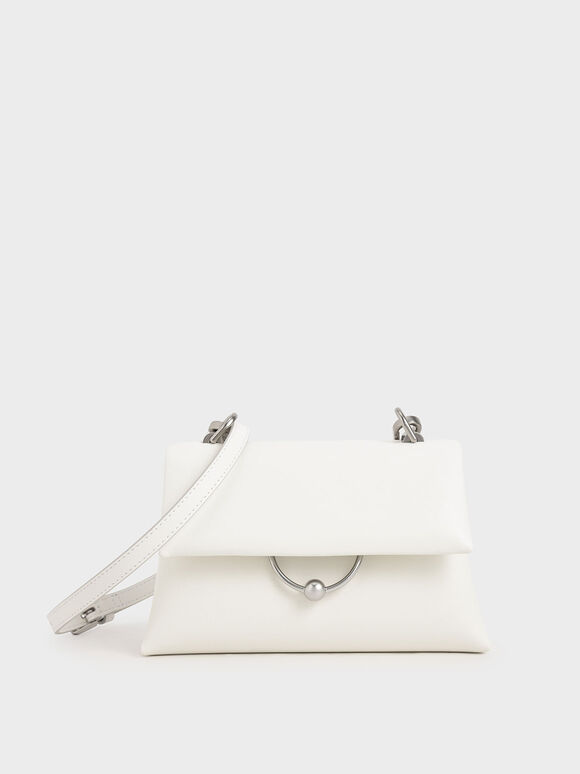 Geometric Chain Handle Bag, White, hi-res