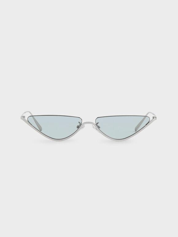 Thin Metal Frame Cat-Eye Sunglasses, Blue, hi-res
