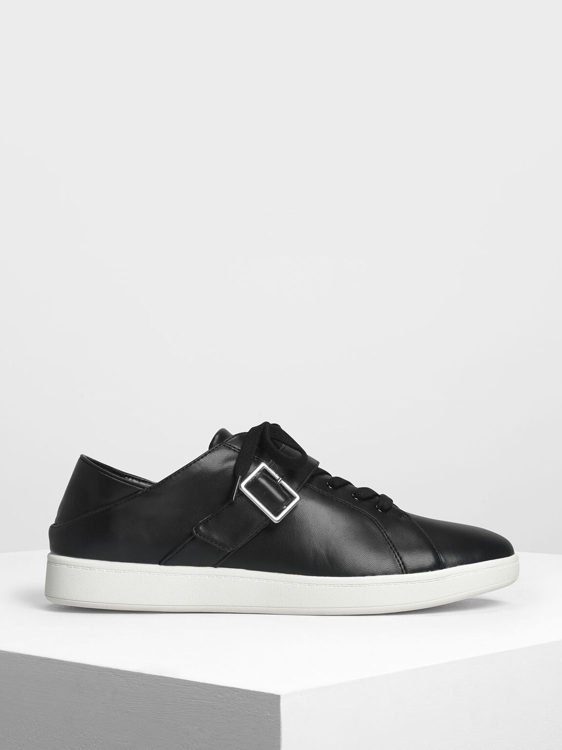 Metal Buckle Sneakers, Black, hi-res
