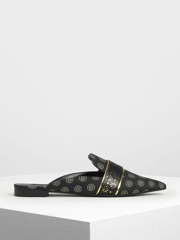 Motif Pointed Toe Mules, Black Textured, hi-res