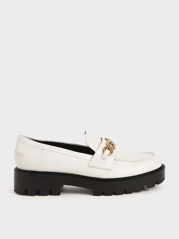 Metallic Accent Chunky Loafers, White, hi-res