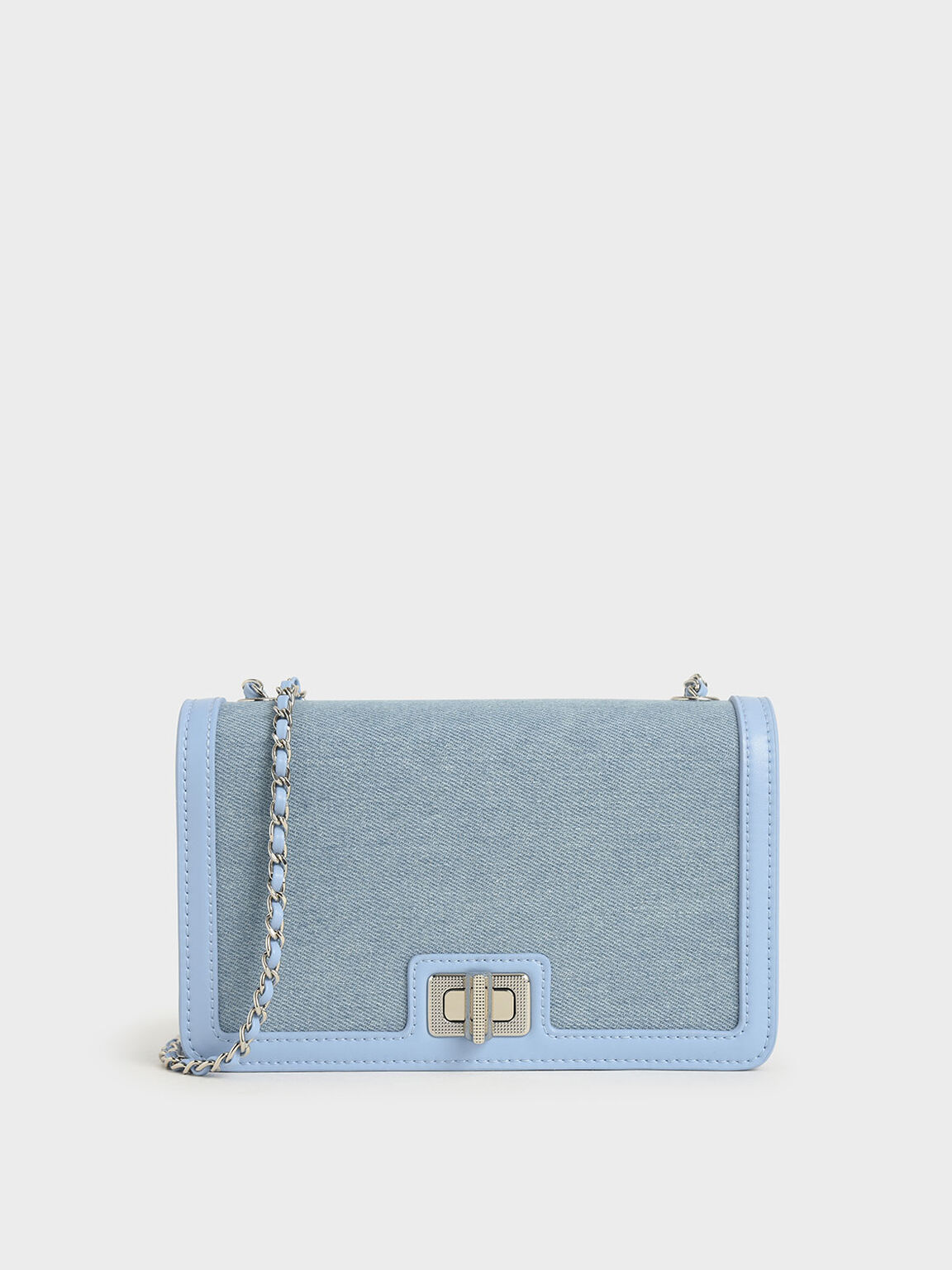 Textured Turn-Lock Clutch, Denim Blue, hi-res