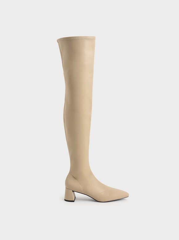 Thigh High Blade Heel Boots, Beige, hi-res