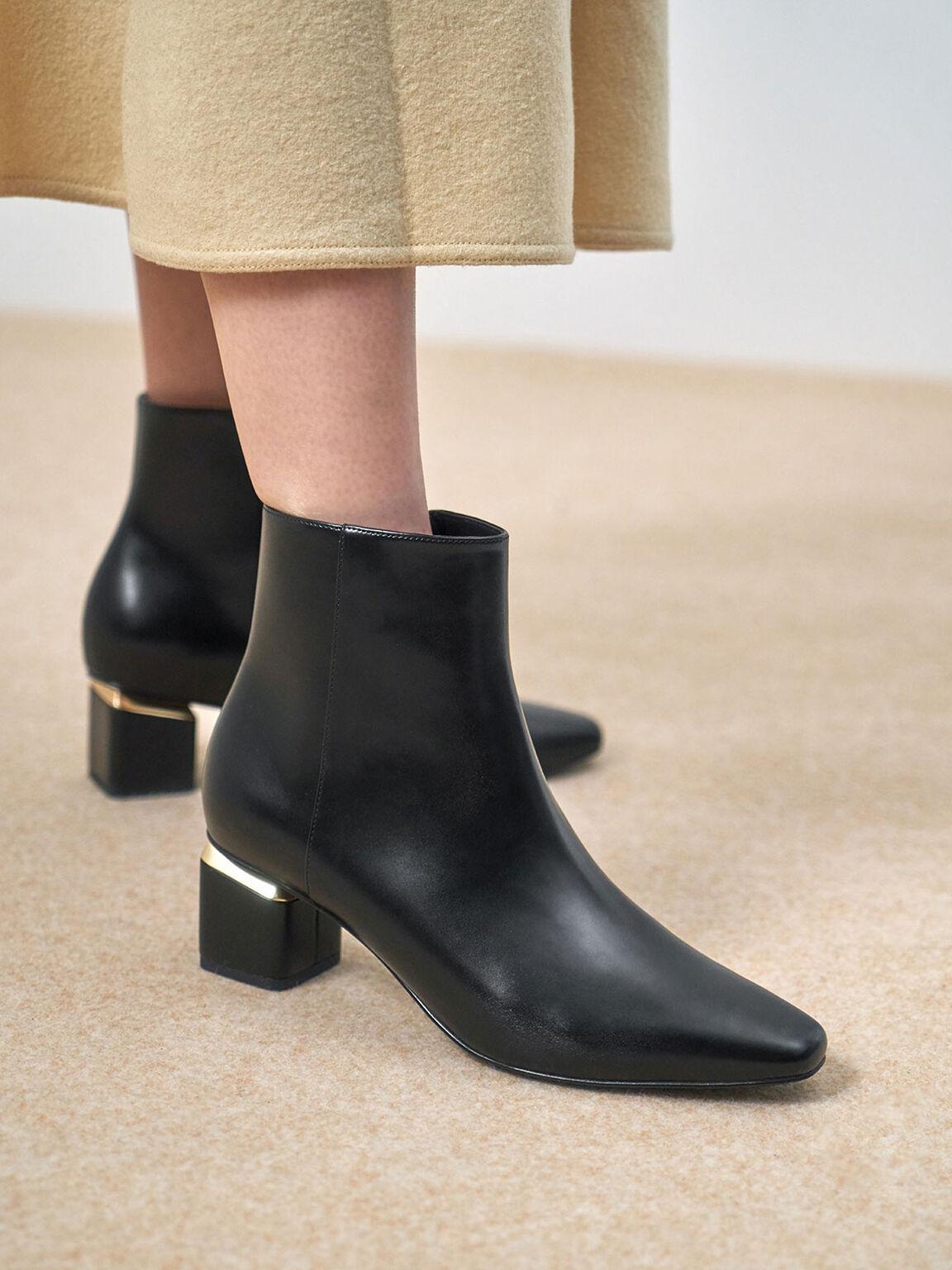 Block Heel Ankle Boots, Black, hi-res