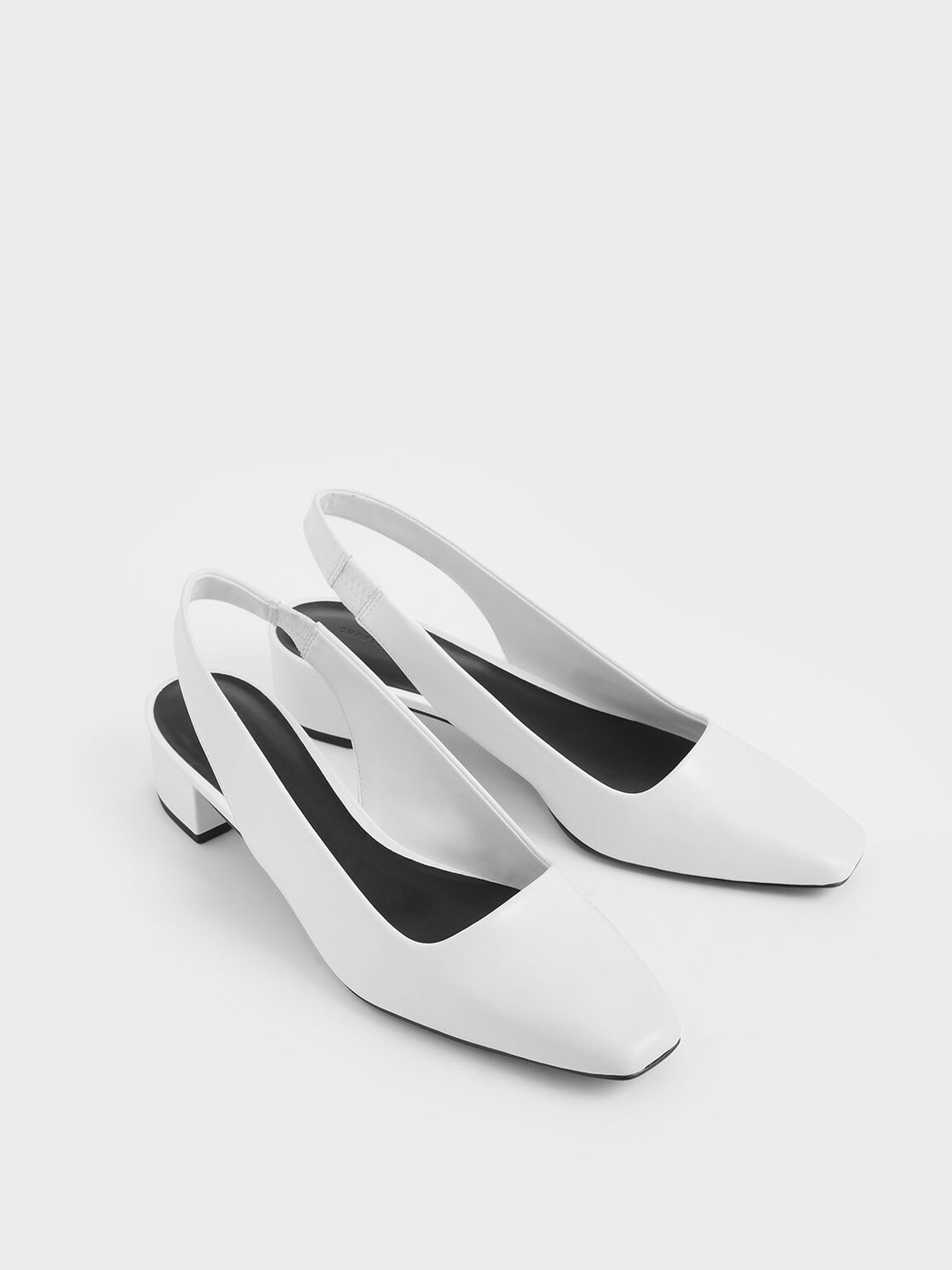 Square Toe Block Heel Slingback Pumps, White, hi-res