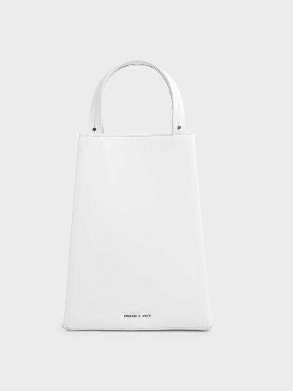 Elongated Top Handle Bag, White, hi-res