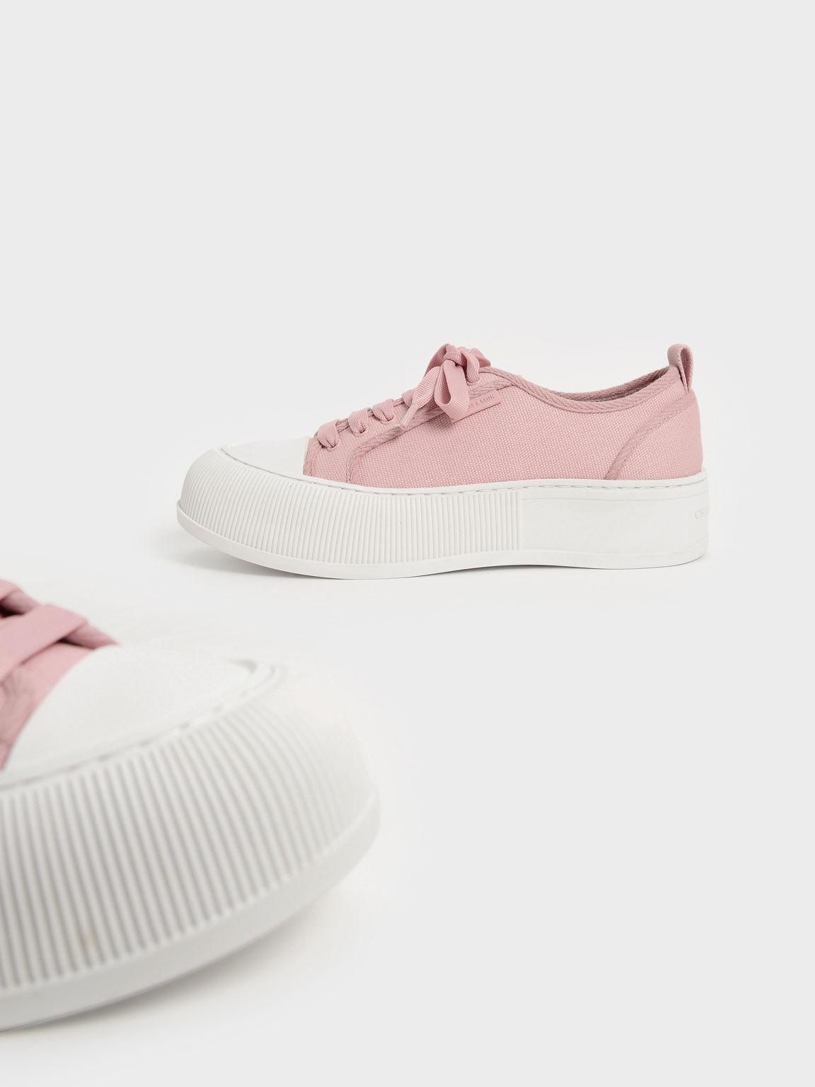 Organic Cotton Low-Top Sneakers, Pink, hi-res