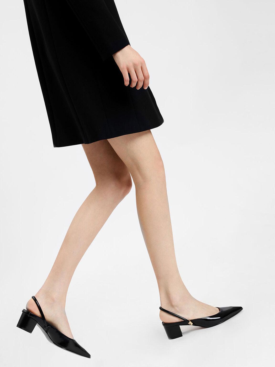 Pointed Slingback Heels, Black, hi-res