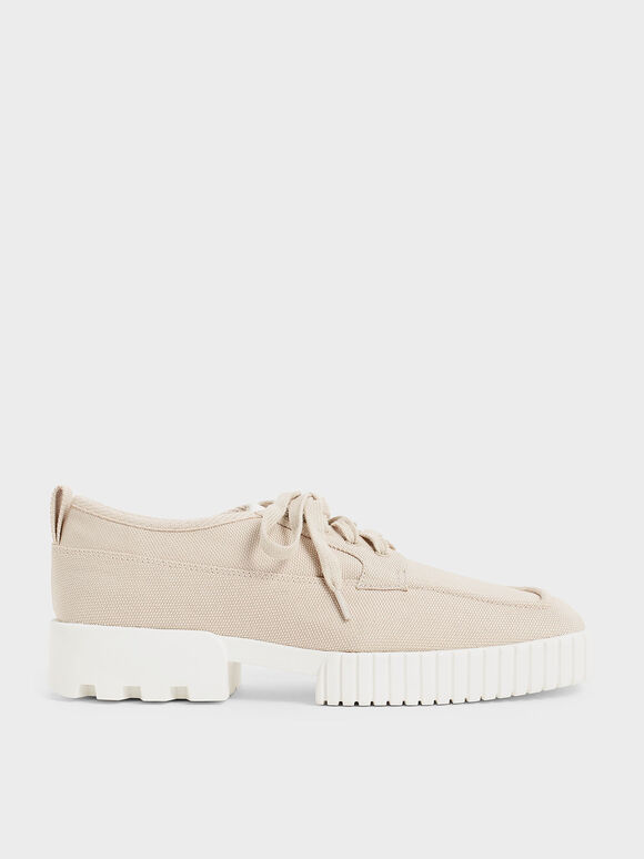 Recycled Polyester Low-Top Sneakers, Beige, hi-res