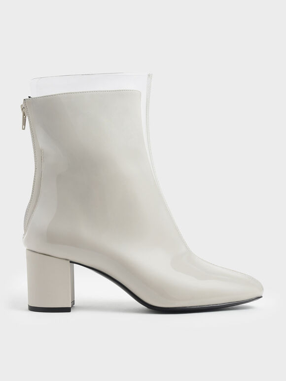 See-Through Effect Block Heel Calf Boots, Grey, hi-res
