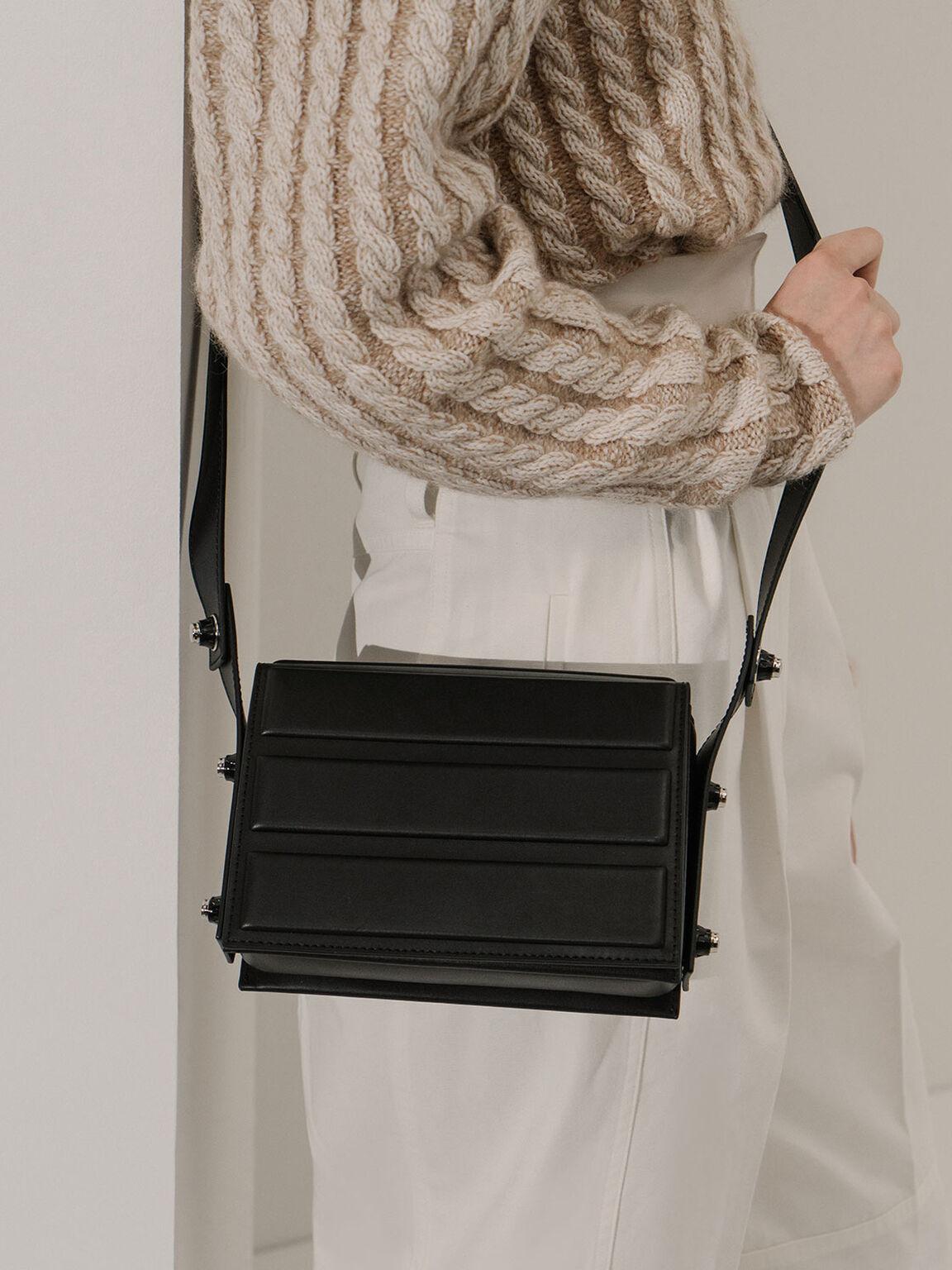 Eyelet-Embellished Top Handle Bag, Black, hi-res