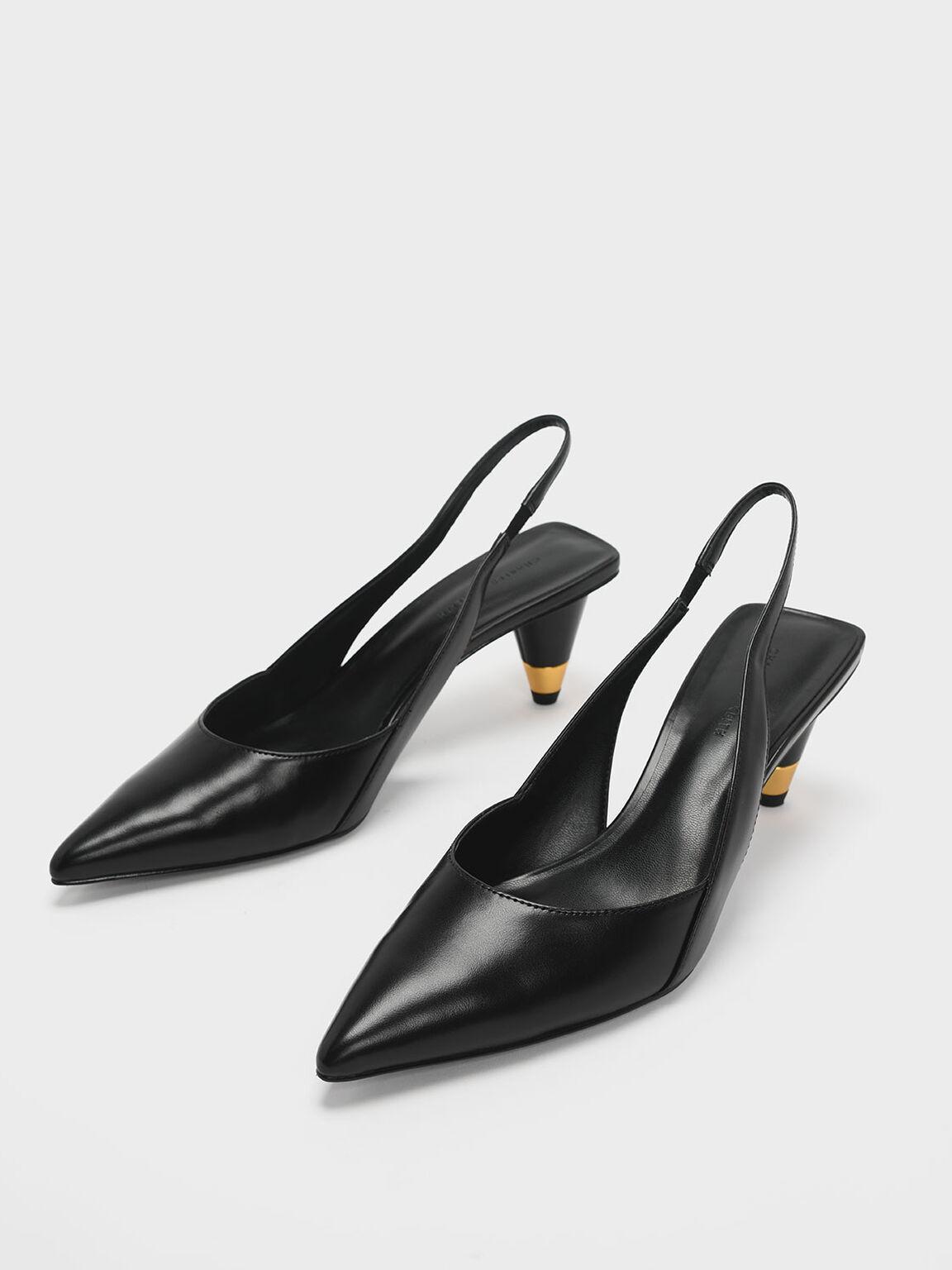 Gold Accent Cone Heel Slingbacks, Black, hi-res