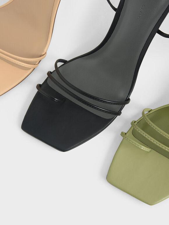 Strappy Tie Up Heels, Green, hi-res