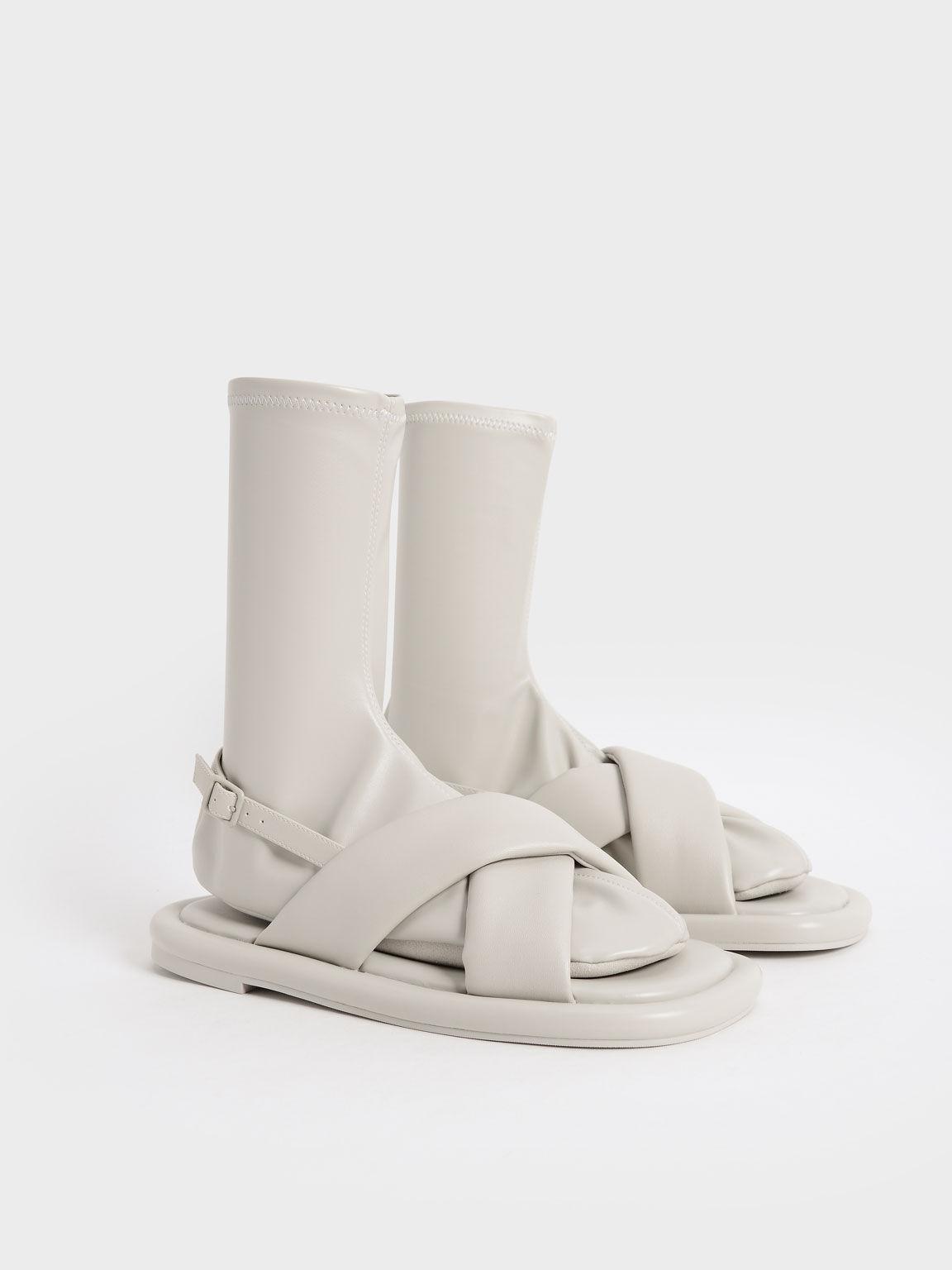 Lucile Flat Calf Boots, Grey, hi-res