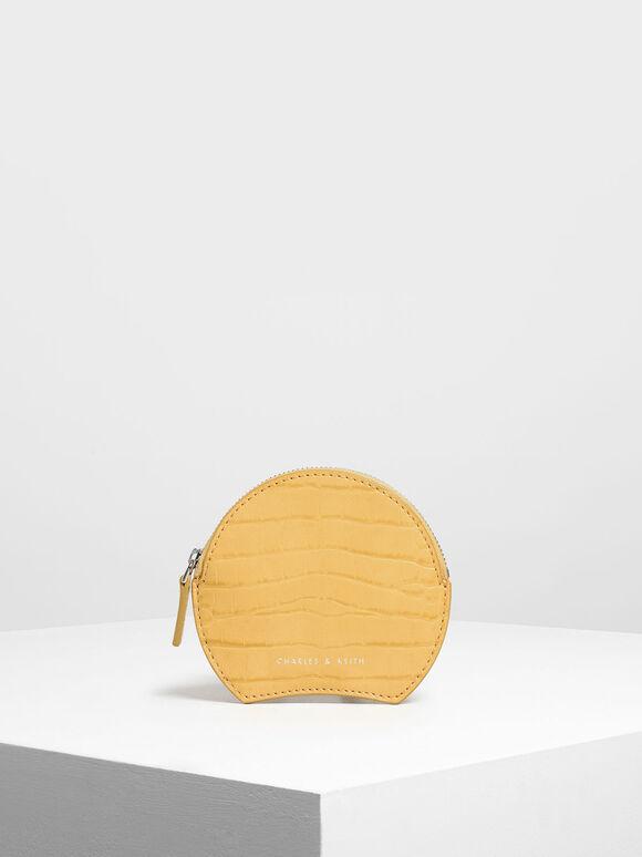 Semi Circle Croc-Effect Mini Pouch, Yellow, hi-res