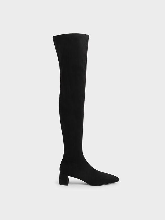 Thigh High Blade Heel Boots, Black, hi-res