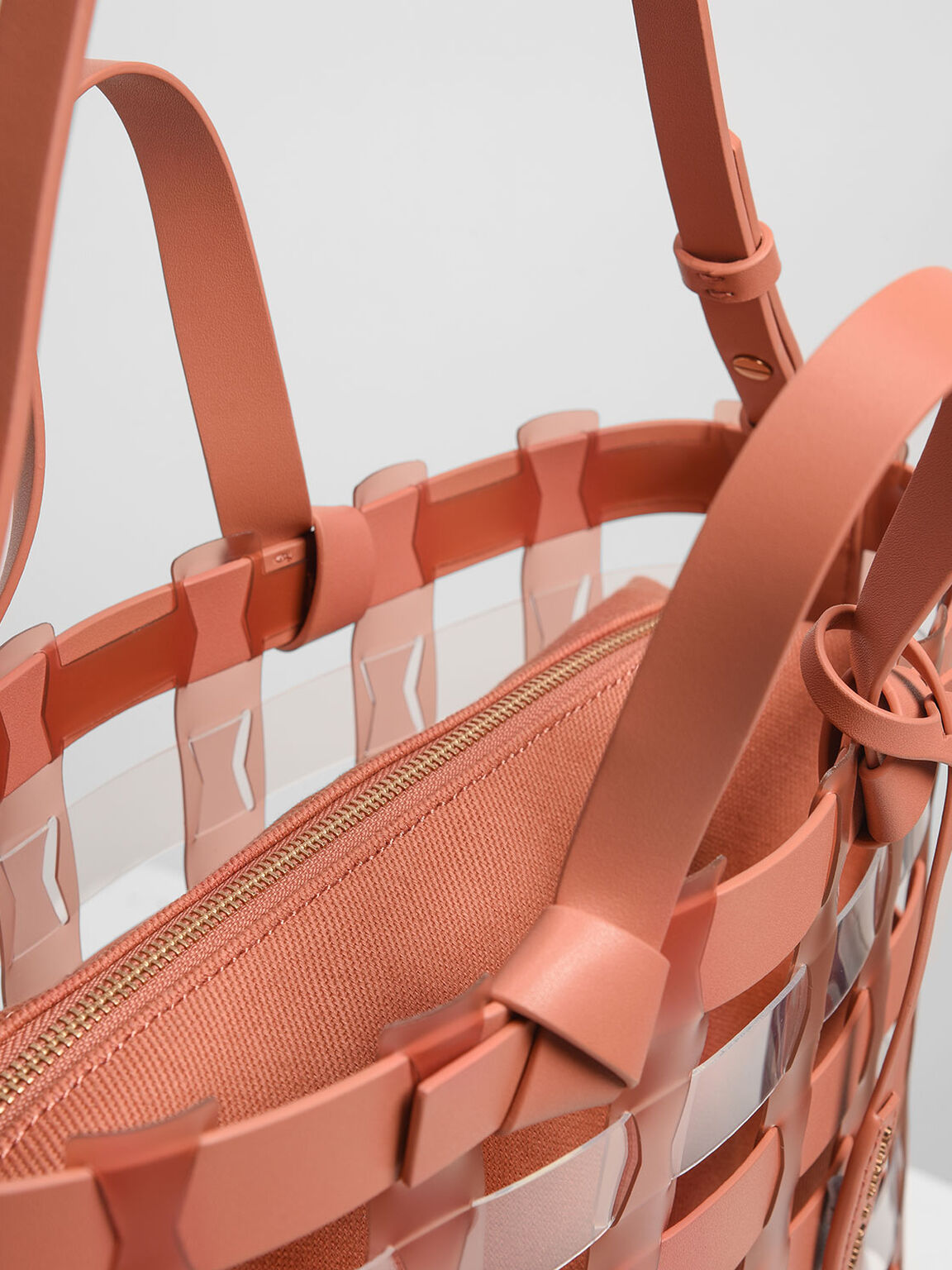 See-Through Woven Tote Bag, Clay, hi-res