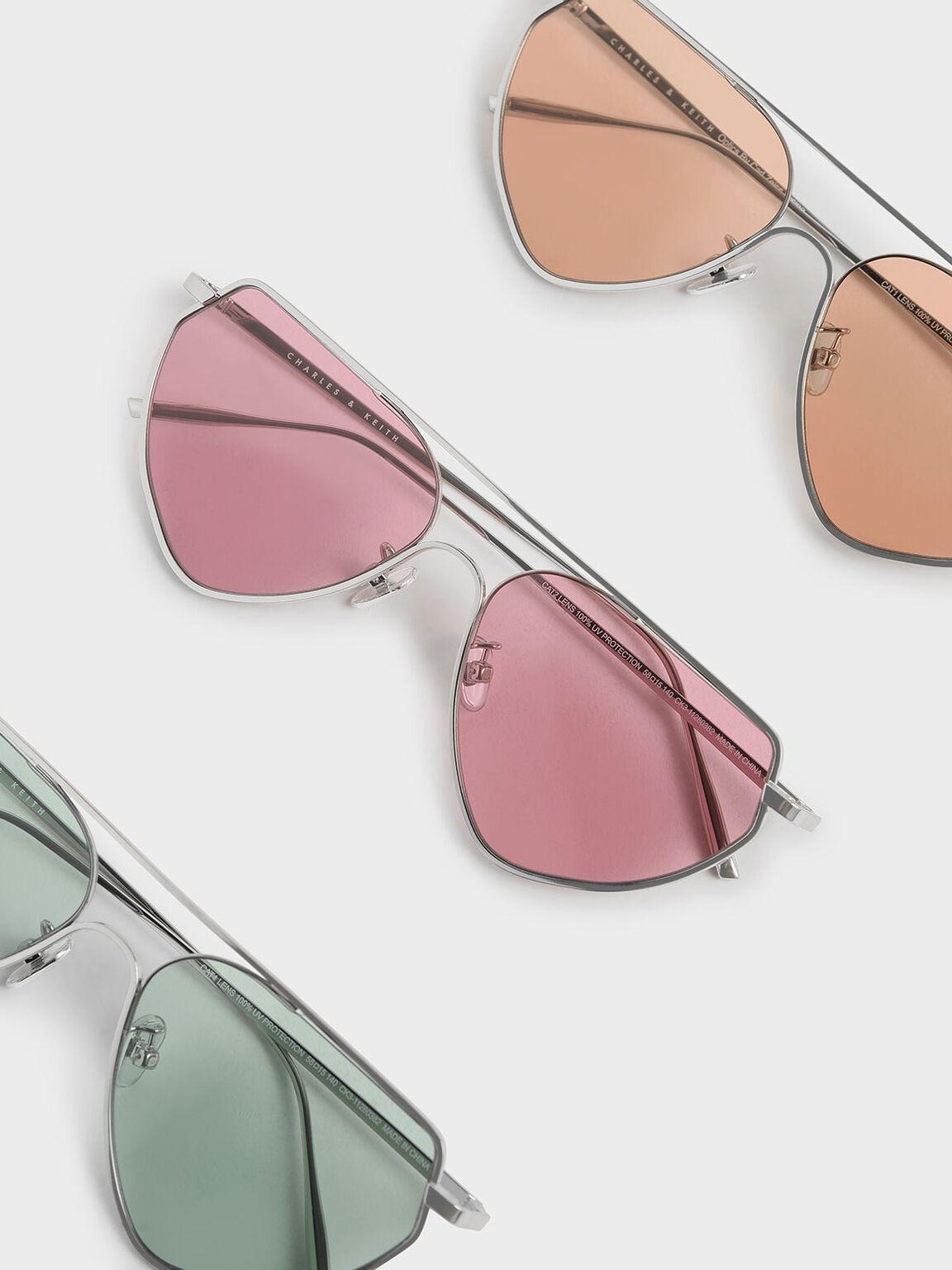 Thin Metal Frame Geometric Sunglasses, Pink, hi-res