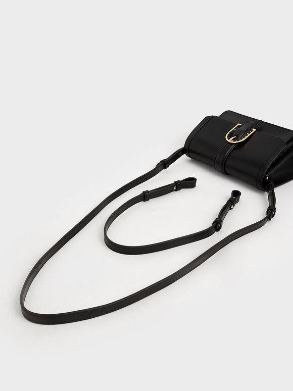 Leather Buckled Bag, Black, hi-res