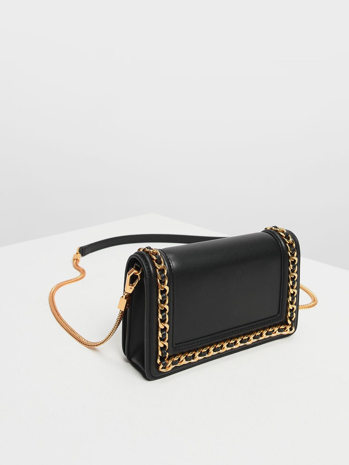 Chain Rimmed Clutch, Black, hi-res