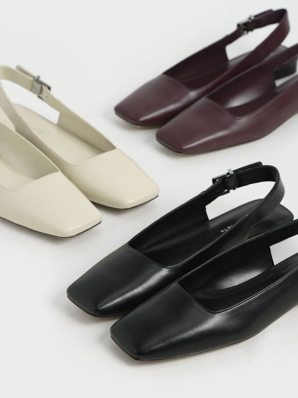 Square Toe Slingback Ballerina Flats, Black, hi-res
