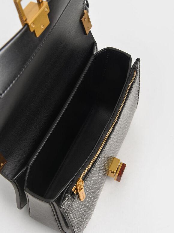 Snake Print Stone-Embellished Crossbody Bag, Black, hi-res