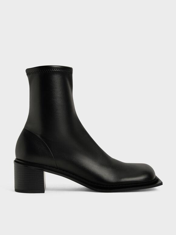 Bee Stitch-Trim Ankle Boots, Black, hi-res