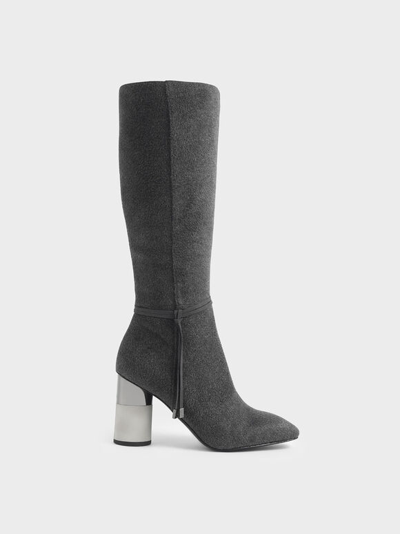 Concrete Heel Knee-High Boots, Dark Grey, hi-res