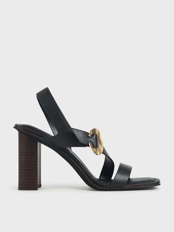 Leather Hammered Buckle Heeled Sandals, Black, hi-res