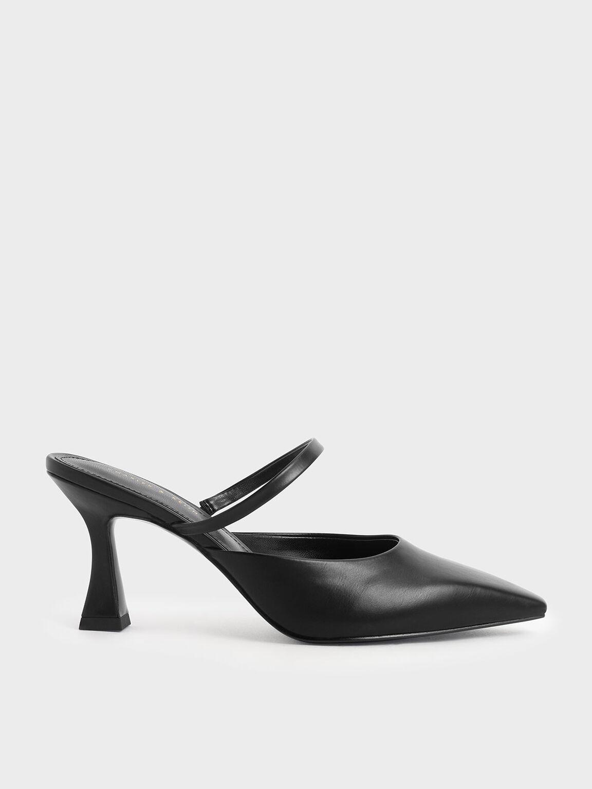 Sculptural Heel Mules, Black, hi-res